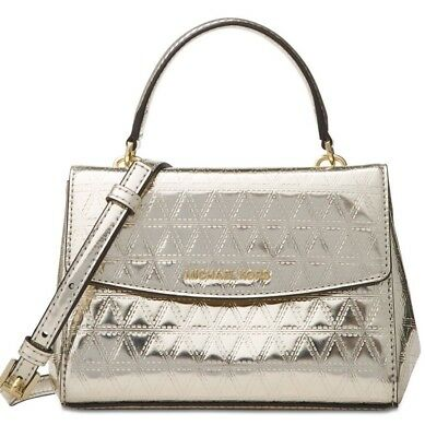 13aef2f7367d4 New Michael Kors Ava Mini XS Crossbody Glimmering leather bag Champagne  holiday