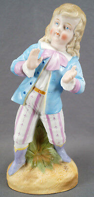"""Late 19th Century Heubach Hand Painted Bisque Porcelain 8 7/8 """" Boy Figurine"""