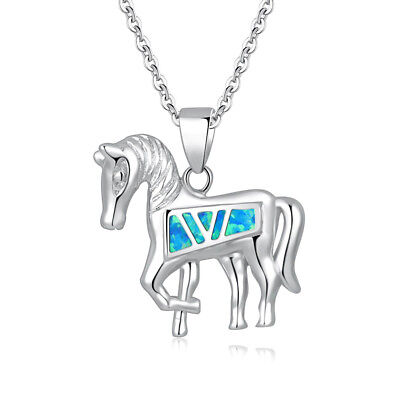 Lovely Horse Blue White Opal Silver Women Jewelry Precious Pendant OD6939-40