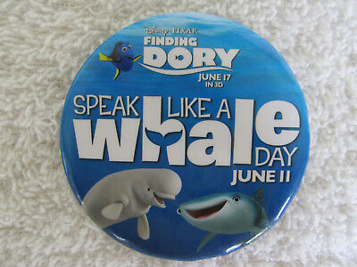 Disney  Button / Pin FINDING DORY  Baily & Destiny Speak Like a Whale Day  NEW