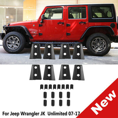 A Set Door Hinge Covers Trims For 07-17 Jeep Wrangler JK Unlimited 4 Door Black
