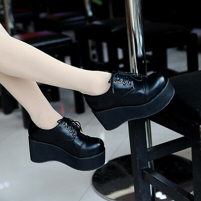 55b3277563d55 Casual Women Wedge Mid Heel Retro Goth Pumps Creeper Platform Lace Up Punk  Shoes