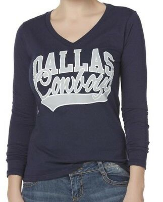 Dallas Cowboys NFL Women's V-neck Navy Long Sleeve Graphic Tee T-Shirts: S-XL
