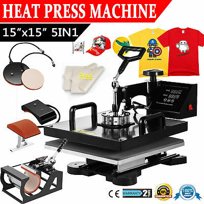 "15""x15"" 5IN1 T-Shirt Heat Press Machine Transfer Baseball Hat Cap Swing Away"
