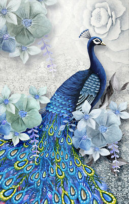 Modern Art Wall Home Decor Abstract Feng Shui Peacock painting Printed Canvas 01