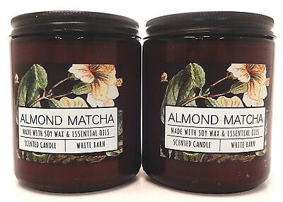 2 BATH & BODY WORKS ALMOND MATCHA SCENTED 1 WICK 7oz CANDLES 14oz TOTAL NEW!
