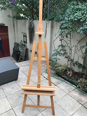 Used Pro Heavy Duty Foldable Wooden Tripod Easel Artist Art Painting Stand