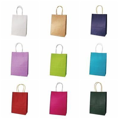1Pc Kraft Paper Shopping Bag With Handle Party Present Gift Clothes Carry Case