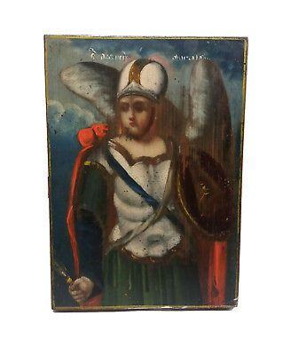 ANTIQUE Russian ORTHODOX Icon WOOD Hand Painting 19 century ARCHANGEL MICHAEL