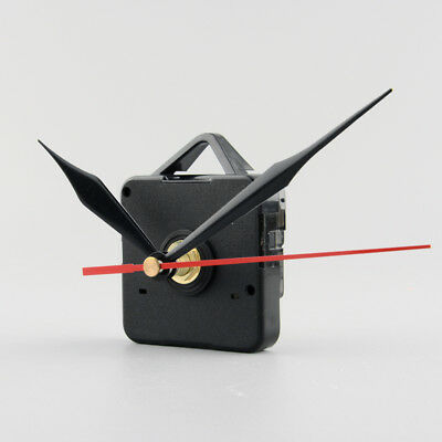 Silent Clock Quartz Movement Mechanism Black and Red Hands Kit Tool Set