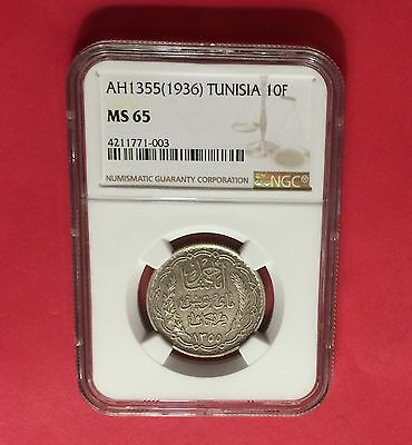Tunisia -Ah1355(Ad1936 ),silver 10 Francs -Ngc Ms65  ..extra Rare..low Mintage.