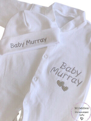 Personalised Baby Sleepsuit / Babygrow / Hat / Baby Girl Boy Gift Set Clothes
