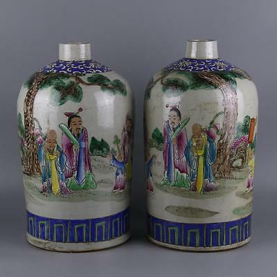 A Pair Beautiful Chinese Antique Famille Rose Porcelain Figure Vase