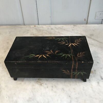 Vintage Oriental black lacquered musical music box