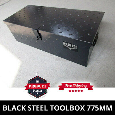 Black Steel Toolbox 775mm Heavy Duty Trademans Ute Tool Box