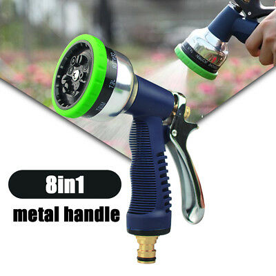 Garden Hose Watering Metal Trigger Spray Gun with 8 Spray Patterns Metal Nipple