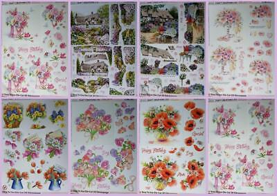 3D A4 Die Cut Paper Tole Decoupage Flowers Cottages Roses Poppies Sweet Peas