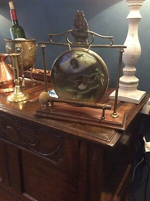 Arts And Crafts Antique Oak And Brass Gong Dinner Kitchen Shop Ship Sailing