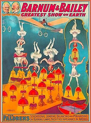 Barnum & Bailey Circus Greatest Show the Paldrens Vintage Travel Art Poster