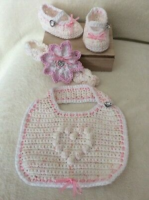Hand knitted/ baby girl booties/shoes/bib crochet headband to fit 0-3 months