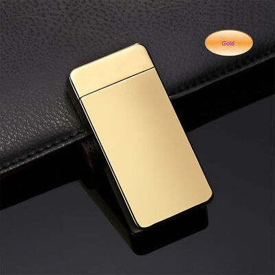 Electric Dual Arc Plasma USB Recharge Flameless Windproof Lighter JL607 Gold