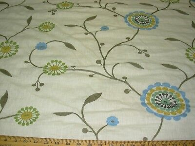 Bty Fabricut Agron Fl Crewel Embroidered Upholstery Fabric
