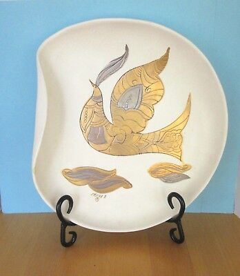 SASHA BRASTOFF vintage folded curled edge decorative plate gold & silver dove