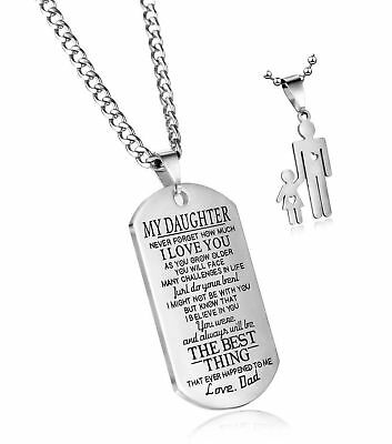 e33996e69cdc6 DAD TO MY Daughter Pendant Never Forget that I Love You Dog Tag Necklace  Gift