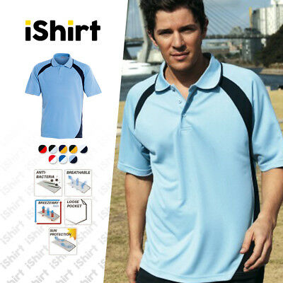 Mens Polo Shirt 100% Polyester Cool Dry Breathable Dynamic Active Polo