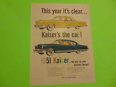 1950-KAISER the only 1951 car with Anatomic Design -vintage print ad 799