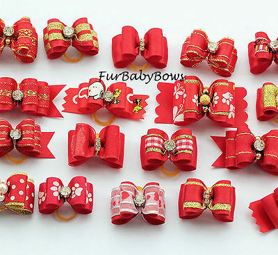 50 Red Grooming assorted YORKIE Dog PET Puppy Bows Shihtzu, Maltese Poodle