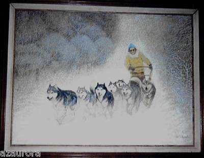 SIBERIAN HUSKY DOG SLED TEAM ART PRINT 11 X 14 picture