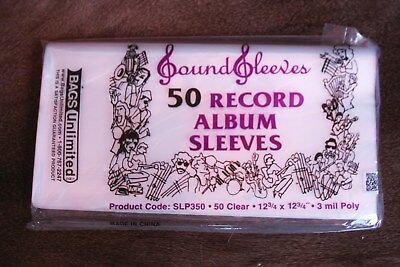 """50 Poly Outer Sleeves 3 Mil High Quality 12"""" Record LP Album Cover 33 RPM Vinyl"""