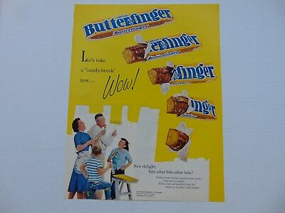 1961-BUTTERFINGER CANDY BAR- WOW Candy Break vintage print ad -836