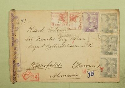 DR WHO 1943 SPAIN CANCEL TO GERMANY WWII CENSORED  d16812