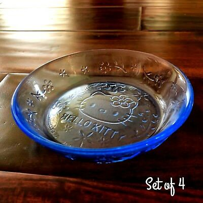 HELLO KITTY Sanrio Glass Small Sauce Dipping Plate Dish Set of 4 Clear Blue