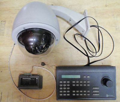 GE Legend IP IDP-1313 PTZ Camera in Housing w/ KTD-405 and I/O Box Used Working