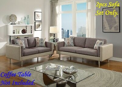 Sofa Set Living Room Coffee Platinum Cotton Blended Fabric Sofa Loveseat 2pc Set