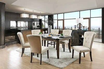 Transitional Dining Antique Dark Oak Finish Chairs 7pc Dining Room Furniture Set