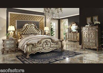 Antique Traditional Formal Dresden Gold 4 Piece Queen King Size Bed Bedroom Set