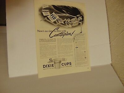 1942-DIXIE CUPS Skeleton No time to flirt with Contagion-print ad-A392
