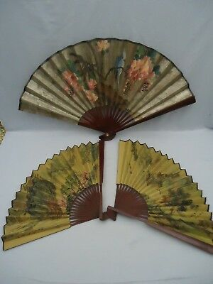 Group of 3 Vintage Oriental Bird Scene Decorative Folding Paper & Bamboo Fans