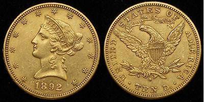 $10 Dollars USA 1892-S Gold Liberty Head Eagle KM #66.2