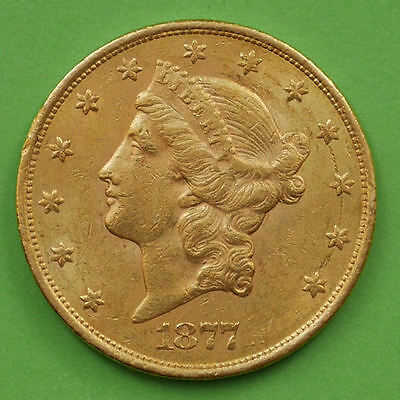 $20 Dollars USA 1877-S Gold Liberty Head Double Eagle KM #74.3