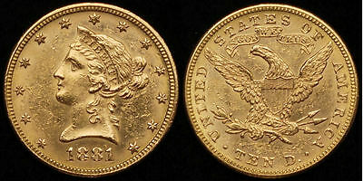 $10 Dollars USA 1881 Gold Liberty Head Eagle KM #66.2