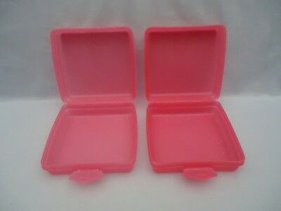 2 Tupperware Clamshell Lunch SANDWICH KEEPER #3752 Container Pink