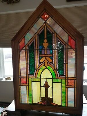 Salvaged Grand Rapids Michigan Church Stained Glass In Custom Wooden Frame