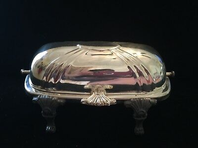 Bristol Silver Plate Butter Dish - Vintage / Antique Dome With Glass Insert