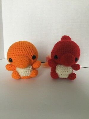 Hand Made Crocheted Pokemon Figures Of Charmander And Chameleon