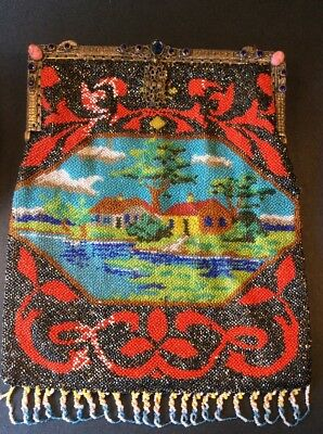 Vintage Micro Beaded Scenic Purse House On Pond